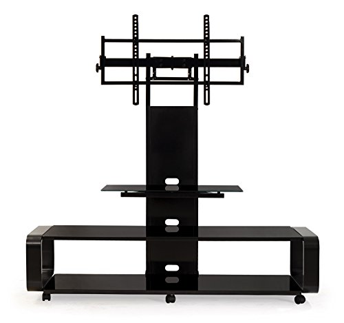 Contemporary Lcd Tv Stand - TransDeco Curved Wood TV Stand with mount for 35 to 85 inch TV TD685B Black
