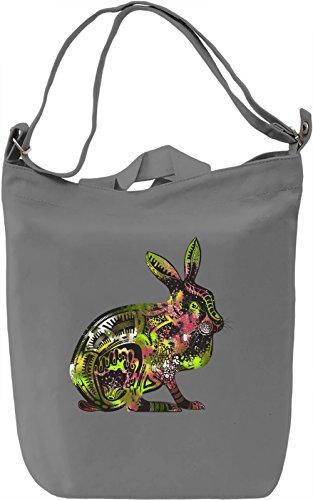 Psychedelic Rabbit Borsa Giornaliera Canvas Canvas Day Bag| 100% Premium Cotton Canvas| DTG Printing|