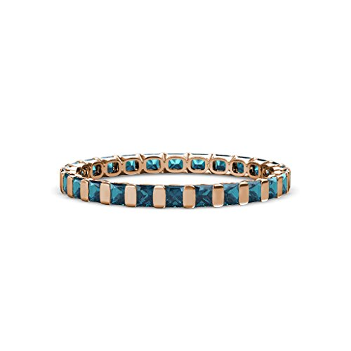 Blue Diamond 2.5mm Common Channel Set Eternity Band 1.80-2.10 Carat tw in 14K Rose Gold.size 5.25 (2ct Diamond Band Tw Eternity)