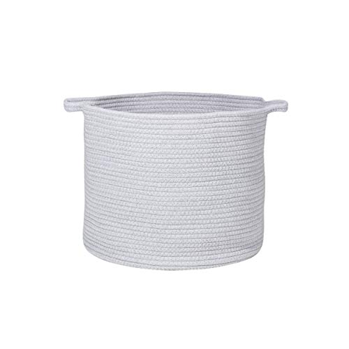 Extra Large Cotton Rope Laundry Baskets Woven Toy Basket & Baby Hamper, Round Baby Diaper Storage Basket with Handle, Blanket Basket for Home Decor 16