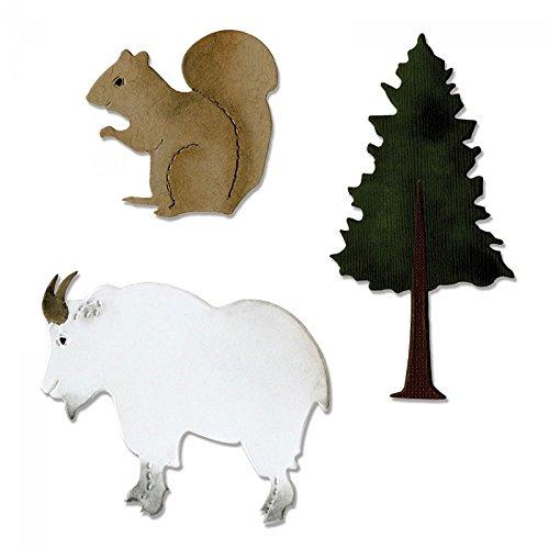 Sizzix A10972 Bigz Die, Mountain Goat, Squirrel & Pine Tree
