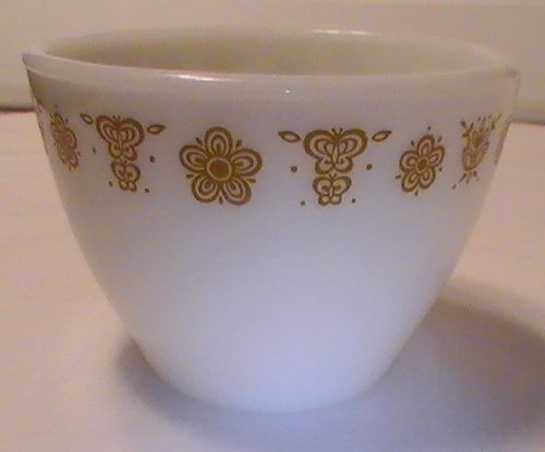 Corning Pyrex Butterfly Gold Open Sugar Bowl