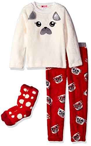 Petit Lem Big Girls' Furry Plush Face Pajama and Socks, H...