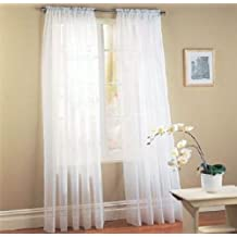 Sheer curtains drape valance 78 x 35 panel - 8 Color Options 1 Piece (White)