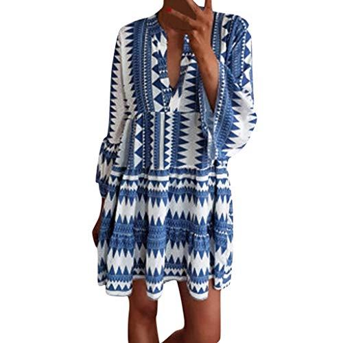 Women Doll Dress Pleated Dress Long Sleeve Boho Loose Dress V Neck Tribal Aztec Beach Dress