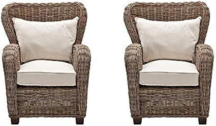 Amazon Com Set Of 2 Wicker Queen Chair In Natural Garden Outdoor