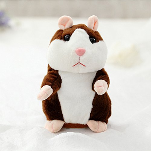 Lanlan Lovely Talking Plush Hamster Toy Can Change Voice Record Sounds Nod Head or Walk Early Education for Baby deep brown and nodding; height:15cm