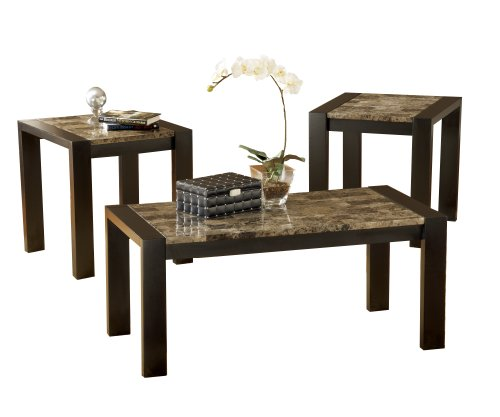 Bernards 3 Piece Cocktail (Bernards Faux Marble Occasional Table, Black,)