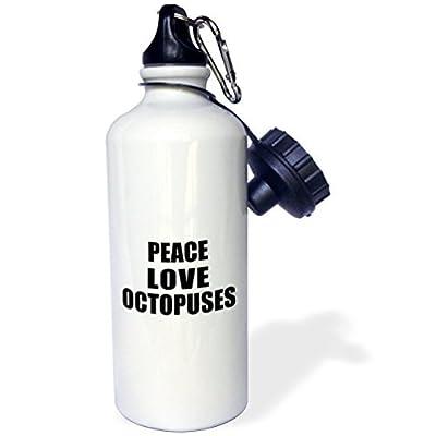Paix Amour et poulpes choses qui Make Me Happy Octopus ventilateur Cadeau Sports Bouteille d'eau en acier inoxydable Bouteille d'eau pour femme homme enfants 400ml