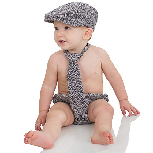 juDanzy Baby Boys Gift Box Cabbie hat Set (1-2 Years, Gray Tweed) (Smash Cake For 1 Year Old Boy)
