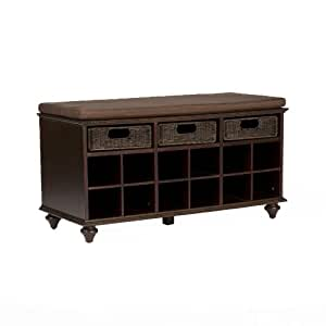 Southern Enterprises Chelmsford Entryway Shoe Storage Bench, Espresso Finish