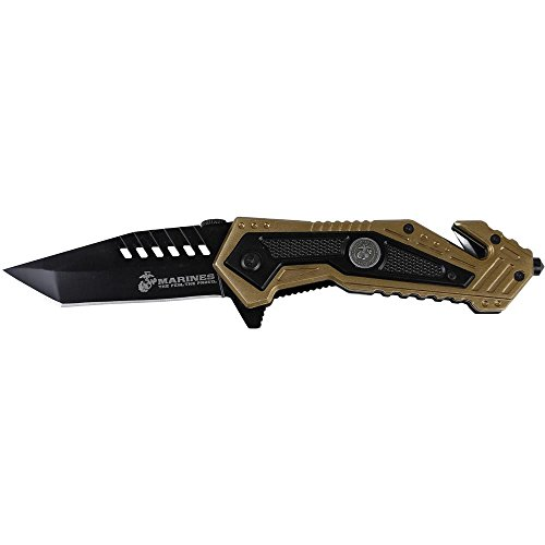 U.S. Marines by MTech USA M-A1033TN Spring Assist Folding Knife, Black Blade, Desert Tan Handle, 4.75-Inch Closed