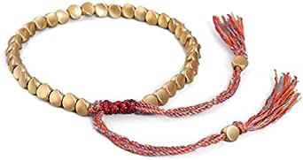 Handmade Tibetan Copper Bead Bracelet with Tassels for Women Men Women Teens Bracelets Adjustable Size for Protection Good Luck Success Amulet