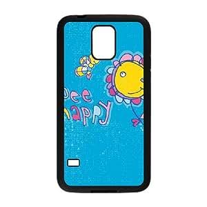 Durable cubierta de plástico para Samsung Galaxy S5 teléfono cubierta de la caja Funda Negro Abeja feliz L2B6VM Teléfono Funda Caso