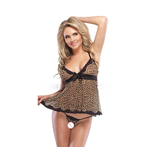 Goddessvan Underwear, Women Sexy Lace Bow Underwear Nightwear Leopard Print Temptation Sleepwear Dress+Thongs (2XL, (Night Leopard)