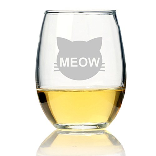 Cats Meow Stemless Wine Glass