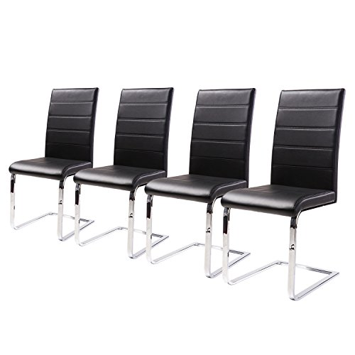Merax 4 Pcs Dining Chairs in Black with chrome Metal Leg and