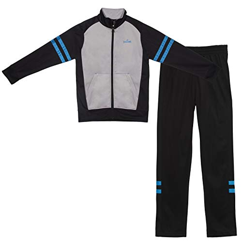 (Spalding Boys On The Court Tricot Athletic Two-Piece Tracksuit Set Black/Blue 10/12)