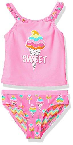 Angel Beach Little Girls Pink Tankini Swim Set with Sweet Ice Cream Print, 5