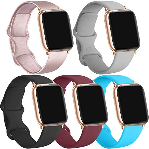 Pack 5 Silicone Bands Compatible For Apple Watch Band 38mm 40mm 42mm 44mm Strap Compatible For Apple Iwatch Series 5 4 3 2 1 Rose Gold Black Wine Red Teal Gray 38mm 40mm S M Amazon Sg Electronics