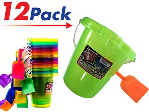 Sesame Street Bucket Pail (2CHILL Bucket Pail & Shovel Beach Toys (Pack of 12) Beach Basics Sand Toys Play Set | Item)