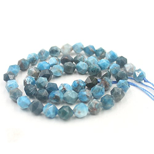 SR BGSJ Jewelry Making Natural 8mm Round Shape Polygonal Faceted Blue Apatite Gemstone Loose Spacer Loose Craft DIY Beads Strand 15
