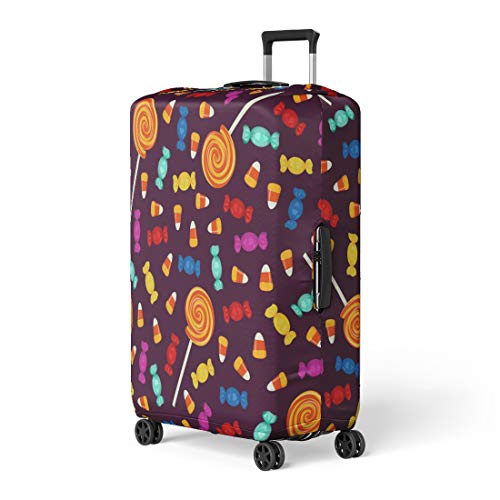 Pinbeam Luggage Cover Candy Halloween Small Sweets on Dark Holiday Trick Travel Suitcase Cover Protector Baggage Case Fits 26-28 inches ()