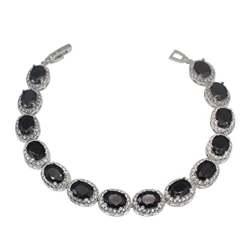 Vanessa Gemstone Oval Tennis Bracelet for Women, Multi Color Silver Plated Blacelet 7'' Jewelry Gifts (Black Onyx)