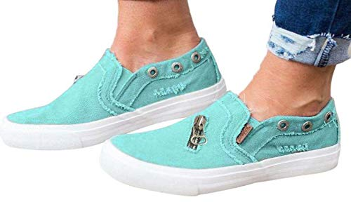 Womens Canvas Shoes Flat Sports Running Shoes Summer Zipper Beach Shoes Casual Single Shoes by Gyouanime Blue ()
