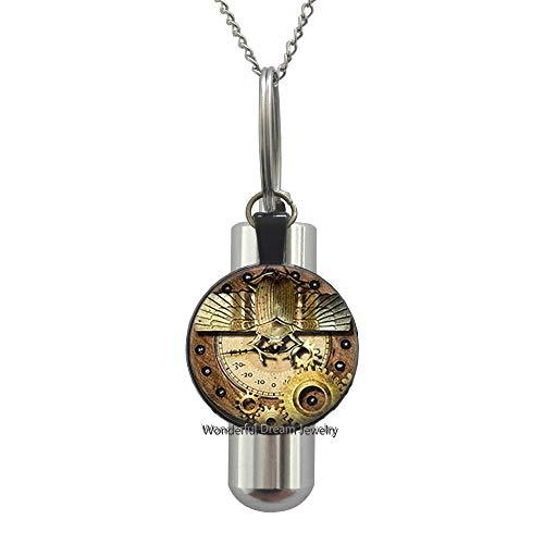 Waozshangu Gears Winged Scarab Statement Cremation URN Necklace URN Women Jewelry,Gear Cremation URN Necklace,Everyday Jewelry Gear URN Charm Cremation URN Necklace,PU043