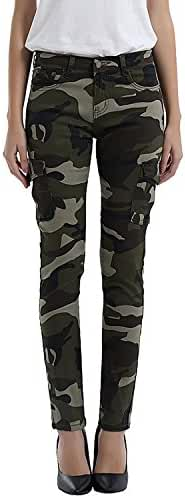 FunnySun Women's Army Camo Jeans Stretch Slim Casual Cargo Pencil Pants