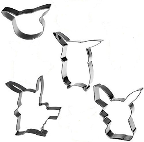 Stainless Steel Like Pikachu Cookie Cutters Gift Box Set - 4 different shapes boxed together & birthday / Pokemon theme party / baking / clay / tracing / molds / biscuits / pastries / candy