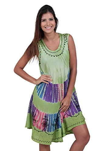 M&B USA Women's Casual Dress Tie Dye Embroidered Summer Beach Cover Up (One Size, Green)
