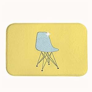 Diseño de sillón de jesspad patrón amarillo para interiores/al aire libre Felpudo alfombrillas de terciopelo Coral
