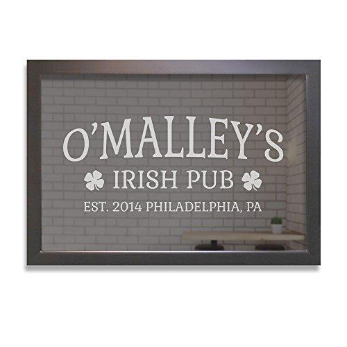 Personalized Bar Mirror - Irish Pub Shamrocks, Custom Bar Mirror Engraved (24