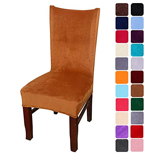 smiry Velvet Stretch Dining Room Chair Covers Soft Removable Dining Chair Slipcovers Set of 4, Camel