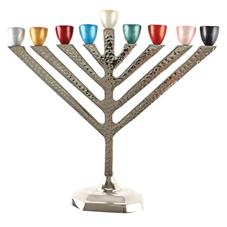 Judaica Hanukkah Menorah with Hammered Aluminum Base and Colored Cups (Round)