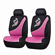 Flying Banner Universal Fit Mesh Cloth Fabric Front Car Seat Cover with Butterfly Embroidery (Pink and Black,6 PCS)
