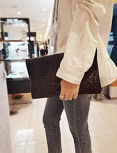 Prom Purse Handbag ZJFZML Magnet Black Envelope with Strap Hook Women's Clutch Shining wrzpvY8r