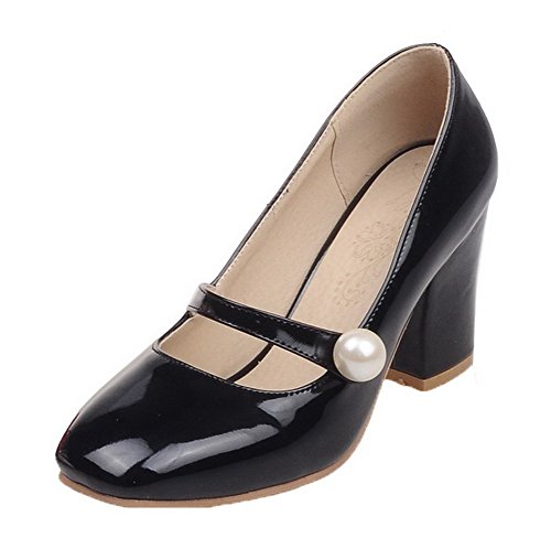 AmoonyFashion Womens Solid PU Kitten-Heels Pull-On Square-Toe Pumps-Shoes Black g1DMZ