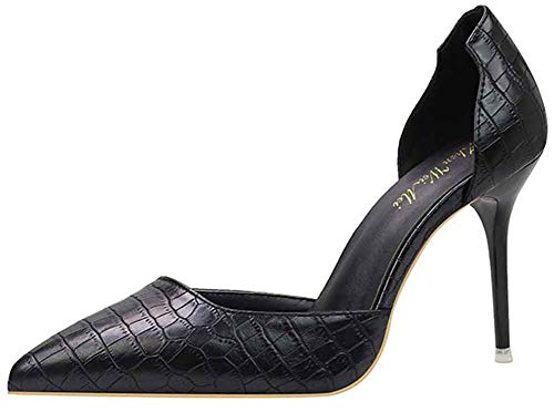 Easemax Women's Chic Pointed Toe High Stiletto Heel Slip On D'Orsay Dress Pumps Shoes Black 7.5 M US ()