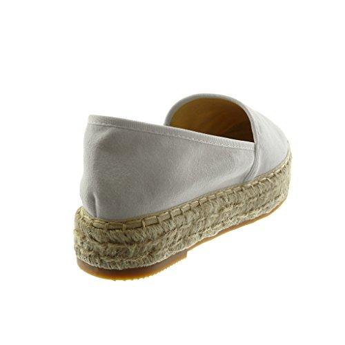 3 5 Espadrillas Angkorly Tacco Donna On Blocco a Moda Slip Corda Bianco cm Scarpe PPEawvqnS