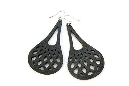 (Net Patterned Black Wooden Teardrop Modern Boho Earrings for Women)