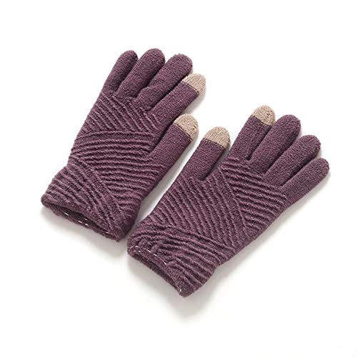 (1 Pc (1 Pair) Girls Warm Winter Gloves Color Purple Screen Sense Striped Wool Knitted Fingers Mittens Unisex Mens Women Toddler Grand Fashionable Extreme Gym Football Wrist Straps Dryer Touch Glove)