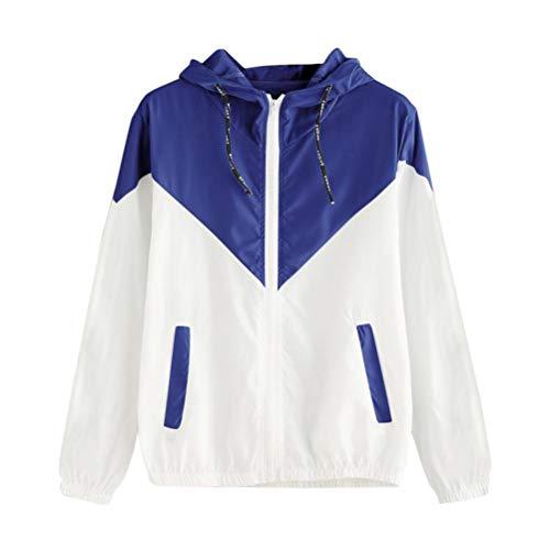 OSTELY Women Fashion Hooded Patchwork Long Sleeve Thin Skinsuits Zipper Pockets Sport Coat(Blue,Medium)