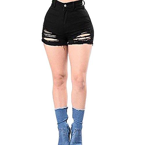 Rela Bota High Waist Butt Lifting Push Up Ripped Distressed Denim Shorts XX-Large Black