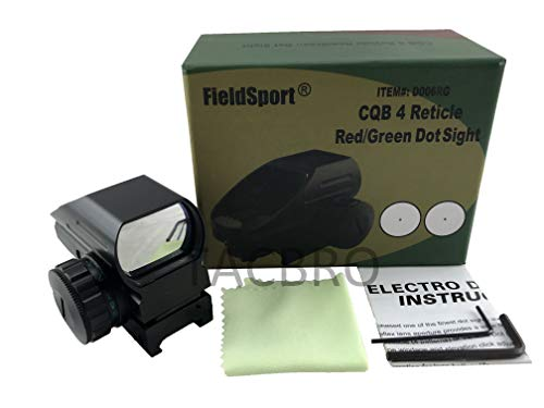 Fieldsports TACBRO Red & Green Dot Sight 4 Reticles Reflex Sight for 20mm Rail Mount by Fieldsports