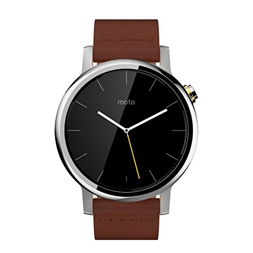Motorola Moto 360 (2nd Gen.) - Mens 42mm, Silver with Cognac Leather