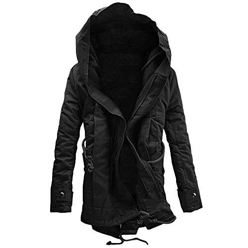 Toimothcn Men Thicken Windproof Hooded Zip Coat Solid Plush Coat Hoodie Jacket (Black,XL)