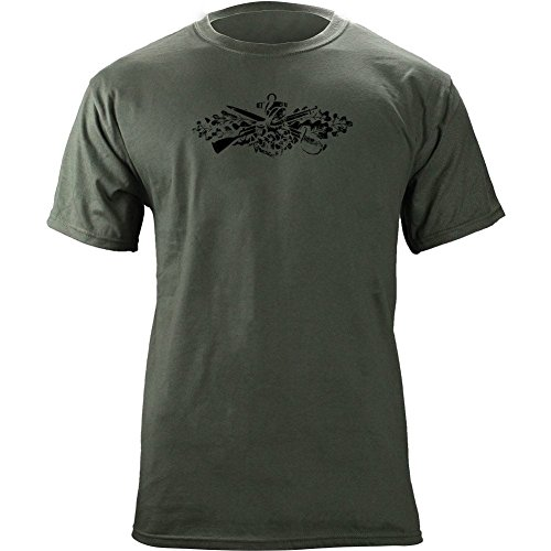 USAMM Officially Licensed Vintage Navy Seabee Insignia Subdued Veteran T-Shirt (L, Green)